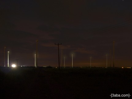 Night windmills, Mablethorpe.