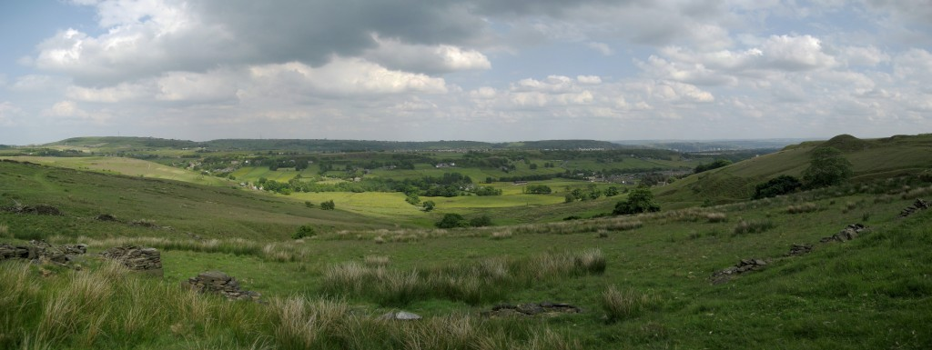 Looking across the valley from the windmills up wainstalls